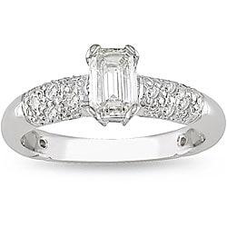 Miadora 18k White Gold 1ct TDW Diamond Engagement Ring (H-I, VS1-SI2)