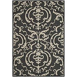 Indoor/ Outdoor Bimini Black/ Sand Rug (9' x 12')