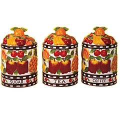 'Fruit Delight' Hand-painted 3-piece Storage Jar Set