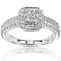 14k Gold 1/2ct TDW Diamond Princess Cut Halo Engagement Ring (H-I, I1-I2)
