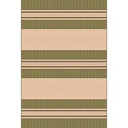 Spinnaker Stripe Green Outdoor Rug (1'11 x 7'6)