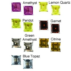 Gioelli 10k White Gold Square Gemstone Stud Earrings