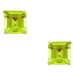 Gioelli 10k Yellow Gold Square Peridot Basket Setting Stud Earrings