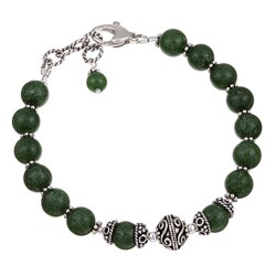 Charming Life Sterling Silver Green African Jade Bracelet