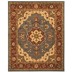 Hand- tufted Maya Blue Wool Rug (7'9 x 9'9)