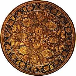 Safavieh Handmade Classic Jaipur Rust/ Black Wool Rug (6' Round)