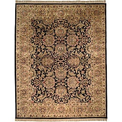 Handmade Traditions Black/ Light Brown Wool Rug (8'3 x 11')
