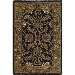 Safavieh Handmade Traditions Black/ Light Brown Wool Rug (2' x 3')