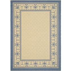 Indoor/ Outdoor Royal Natural/ Blue Rug (6'7 x 9'6)