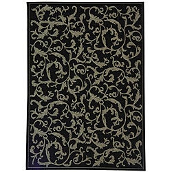 Indoor/ Outdoor Mayaguana Black/ Sand Rug (4' x 5'7)