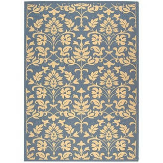 Indoor/ Outdoor Seaview Natural/ Blue Rug (4' x 5'7)
