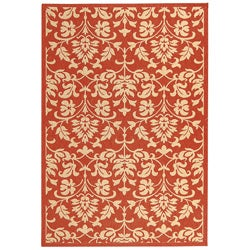 Indoor/ Outdoor Seaview Red/ Natural Rug (4' x 5'7)