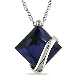 10k White Gold Created Sapphire Necklace