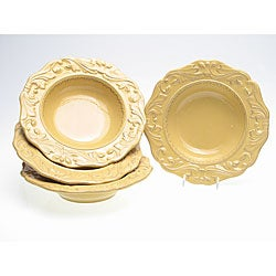 Certified International Firenze Gold 9.75-inch Soup Bowl (Set of 4)