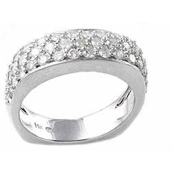 14k White Gold 1ct TDW Diamond 3-row Ring (H-I, I1-I2)