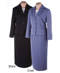 Larry Levine Plus Size Column Skirt Suit