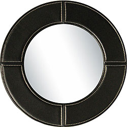Black Faux Leather Meera Mirror