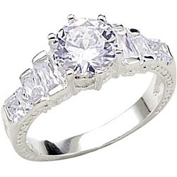 Simon Frank 14k White Gold Overlay 'Stairway to Heaven' CZ Ring