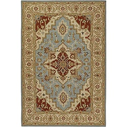 Hand-knotted Mandara Beige New Zealand Wool Rug (7'9 x 10'6)