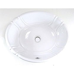 DeNovo Self-Rimming Decorative Porcelain White Bathroom Sink