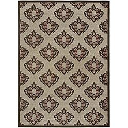 Mandara Indoor/ Outdoor Oriental Brown Rug (1'11 x 3'7)