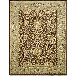 Handmade Kerman Chocolate/ Gold Wool Rug (9'6 x 13'6)