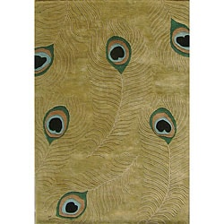 Hand-tufted Peacock Sage Green Wool Rug (6' Round)