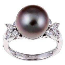 Kabella 18k Gold Pearl and 1/2ct TDW Diamond Ring (I-J, I1) (12 mm)