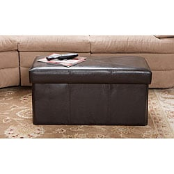Nottingham Brown Bonded Leather Folding Storage Ottoman
