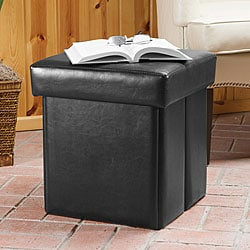 Spencer Black Bonded Leather Folding Storage Ottoman