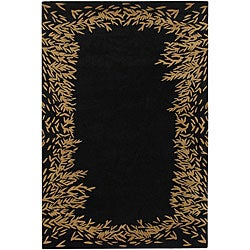 Hand-tufted Mandara Black Wool Rug (7'9 x 10'6)