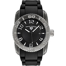 Swiss Legend Men's Commander Black Silicone Watch