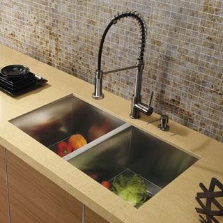 Vigo Undermount Stainless Steel Kitchen Sink Faucet/Dispenser
