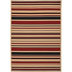Cafe Indoor/ Outdoor Beige/ Red Jute Rug (8'9 x 12'9)