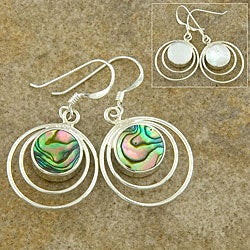 Sterling Silver Abalone Shell and Mother of Pearl Earrings (Thailand)