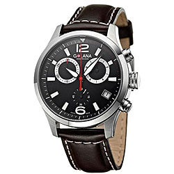 Golana Swiss Men's 'Aero Pro 200' Steel Case Leather Strap Watch