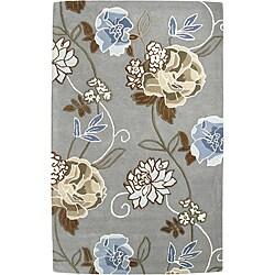 Handmade Aurora Rose Garden Steel Grey Wool Rug (4' x 6')