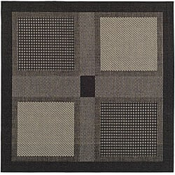 Safavieh Indoor/ Outdoor Lakeview Black/ Sand Rug (7'10 Square)