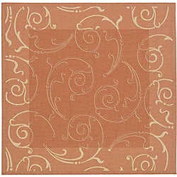 Safavieh Indoor/ Outdoor Oasis Terracotta/ Natural Rug (7'10 Square)
