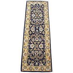 Indo Hand-tufted Kashan Black Wool Runner (2'3 x 7')