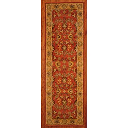 Indo Hand-tufted Kashan Rust Wool Runner (2'3 x 7')