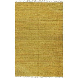 Handmade Earth First Honey/ Gold Hemp Rug (8' x 10')
