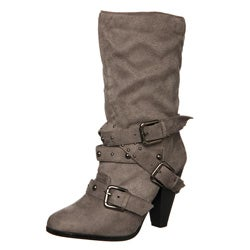 Bucco Women's Buckle Detail Mid-calf Boots