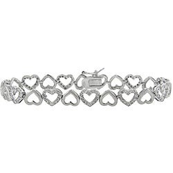 Sterling Silver 1/2ct TDW Diamond Open Heart Link Bracelet