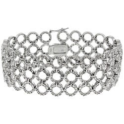 Sterling Silver 1ct TDW Diamond 3-row Circle Link Bracelet (J-K, I3)