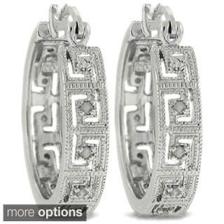Diamond Greek Key Hoop Earrings