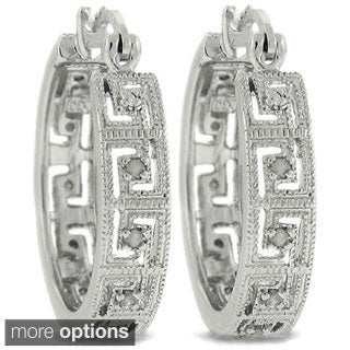 Sterling Silver 1/4ct TDW Diamond Greek Key Hoop Earrings