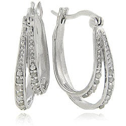 Sterling Silver 1/4 Carat TW Diamond Double Hoop Earrings,