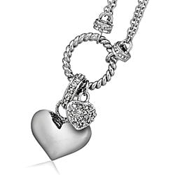 Sterling Silver 1/4ct TDW Diamond Double-heart Charm Necklace