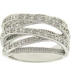 Finesque Sterling Silver 1/4ct TDW Diamond Crossover Ring